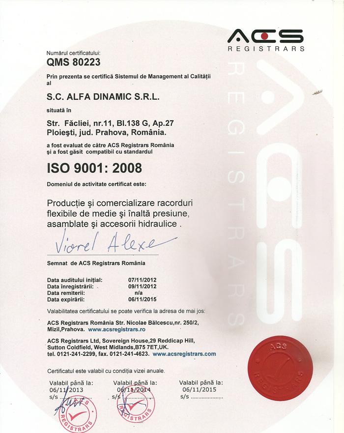 certificat calitate